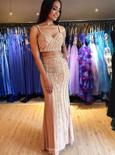 Sparkly Two Piece Straps Sheath Long Prom Dress with Beading OP546