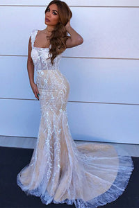 Square Neck Straps Mermaid Lace Wedding Dress With Train OW379