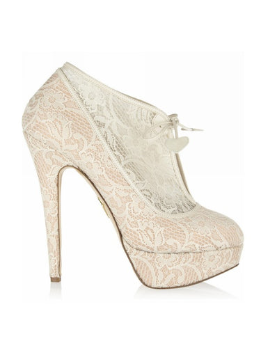 Stiletto Heel Closed Toe Platform Lace Wedding Boots OS107