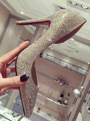 Stiletto Heel Satin Closed Toe Rhinestone High Heels OS104