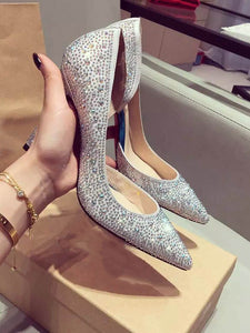 Stiletto Heel With Rhinestone Satin Closed Toe High Heels OS105