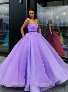 Strapless Ball Gown Quinceanera Dresses Tulle Long Prom Dresses OP622