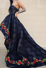 Strapless Hi-Low Dark Blue Floral Lace Prom Dress with Chapel Train OP586
