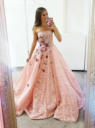 Strapless Pink Lace Long Prom Dresses Ball Gown with Floral Appliques OP443