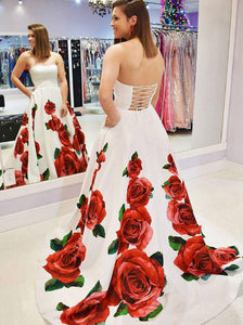 Strapless Satin Floral Printed Long Prom Dress, Elegant Evening Dress OP625