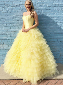 Strapless Tiered Yellow Prom Ball Gown Princess Quinceanera Dress OP585