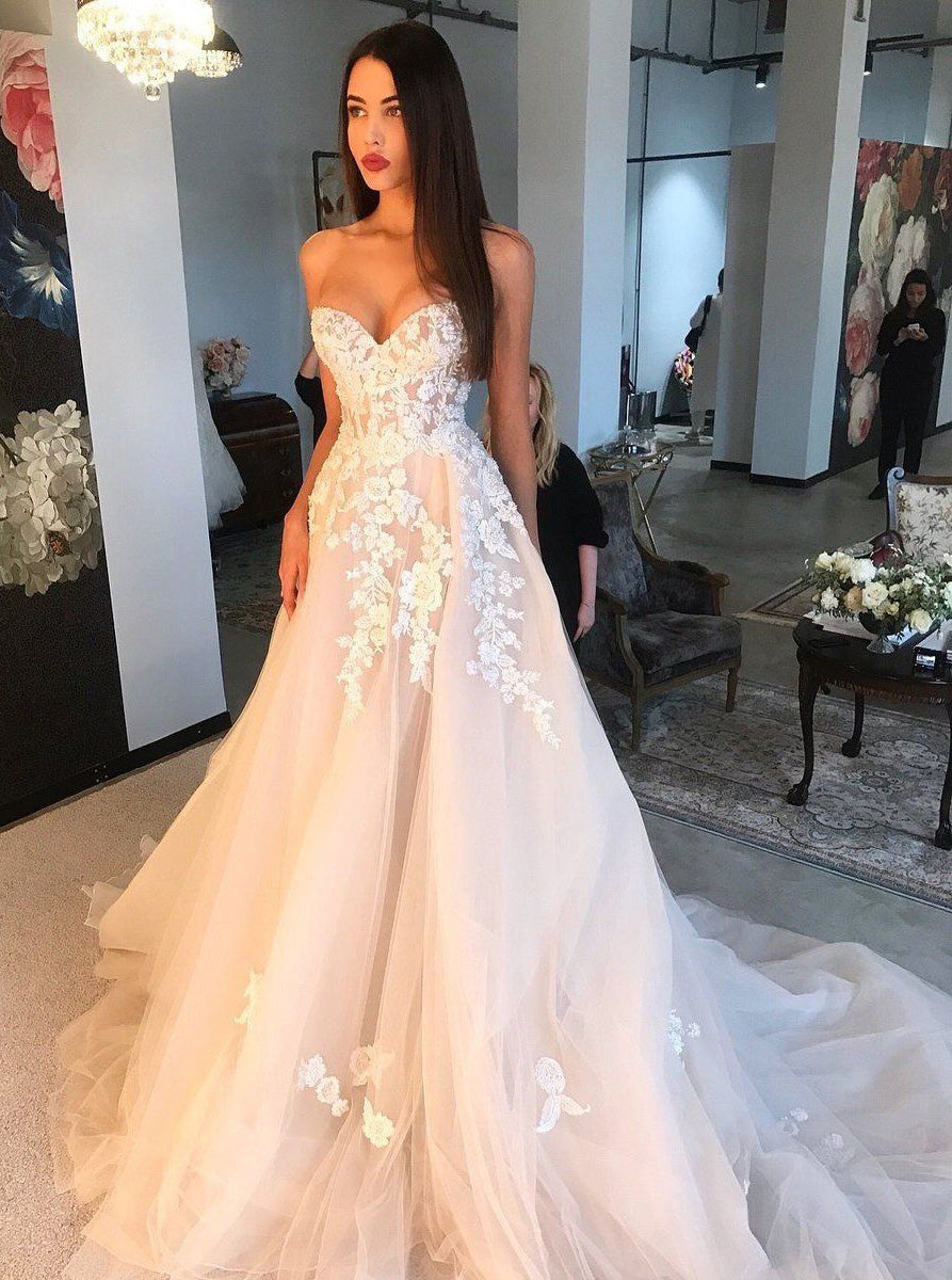 Sweetheart Tulle Applique Blush Pink Wedding Dress, Long Prom Dress OW343
