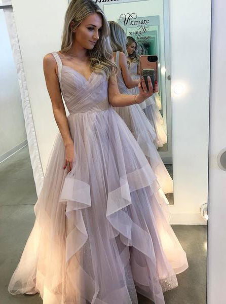 Straps A-line Long Prom Dresses Tulle Evening Gown OP602