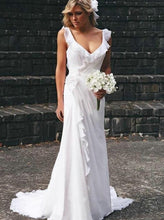 Straps Beach Chiffon Backless Wedding Dress With Ruffled Bridal Dress OW331