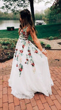 Straps Lace Long Prom Dress with Embroidery A Line V Neck Backless OP308
