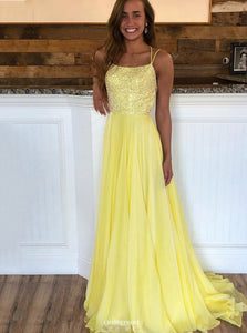 Straps Yellow Long Prom Dress Beaded Sexy Backless Evening Gown OP550