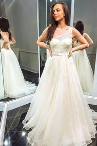 Stunning Beading Ivory Tulle One Shoulder Prom Wedding Dress OP561