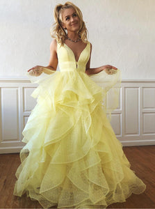 Sweet 16 Dress Yellow Layered Polka Dot Organza Long Prom Dresses OP429