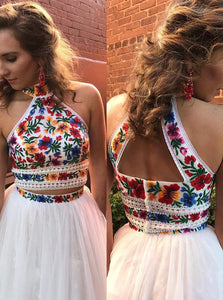 Halter Sweet 16 Dress Two Piece Embroidery Floral Long Prom Dress OP408