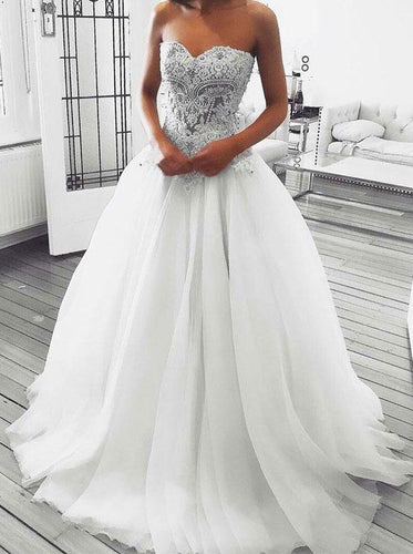Sweetheart A-line Wedding Dresses Appliques Beaded Tulle Bridal Gown OW390