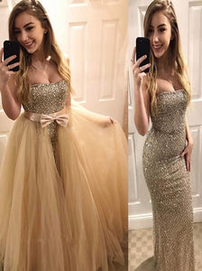 Sweetheart Beaded Two In One Bodycon Prom Dress, Mermaid Evening Dress OP341