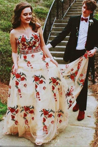 Sweetheart Floral Appliques Long Prom Dress, Princess Formal Party Gown OP628