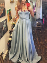 Sweetheart Long Prom Dress With Floral, Blue Evening Dress OP657