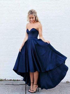 Sweetheart Royal Blue Hi-lo Prom Dresses, Asymmetry Homecoming Dresses, OP221