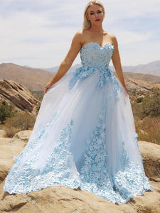 Sweetheart Light Sky Blue Handmade Flowers Long Prom Dresses, Tulle Quinceanera Dress, OP218