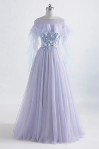 Princess Tulle Jewel Floor-length Prom Dress With Lace Appliques PO452