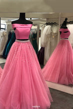 Off Shoulder Two Piece Tulle Pink Teens Prom Dresses With Beaded OP520