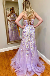 Teens Two Piece Halter Floral Appliques Lilac Sheath Long Prom Dress OP588