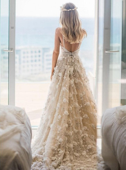 Timeless Backless Spaghetti Wedding Dress with Beaded Appliques OW385