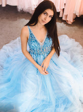Trendy Blue Long Prom Dress V neck Tulle Beads Evening Dress OP430