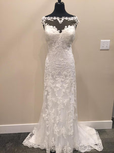 Cap Sleeves Lace Sheer Neckline Sheath Wedding Dresses With Applique OW311