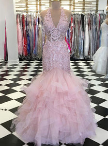 Trumpet V-Neck Lace Bodice Beaded Pink Prom Dress With Ruffles OP576
