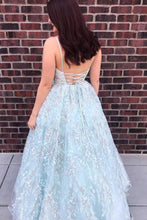 Tulle Beaded Appliques Ball Gown V-neck Spaghetti Long Prom Dresses OP533