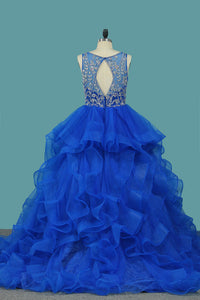 Blue Tulle Beaded Bodice Ball Gown Prom Dress Ruffles Princess Quinceanera Dresses OP359