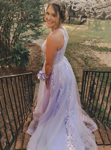 Pretty Tulle Lilac Long Prom Dress Jewel Neck with Appliques OP669