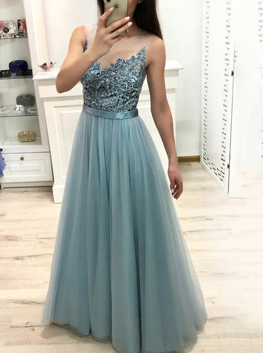 Tulle Long Prom Dress Illusion Jewel Neck Beading with Sheer Back OP563