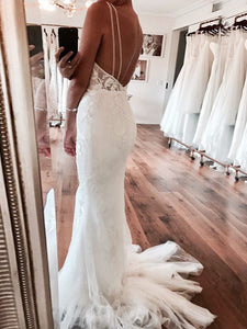 Spaghetti Straps Trumpet/Mermaid Backless Tulle Wedding Dresses OW283