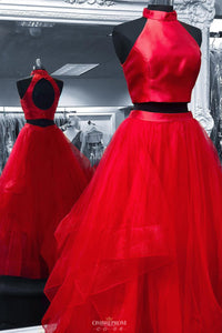 Tulle Red Long Prom Dress Two Piece Hollow Out Back Pageant Dress OP551
