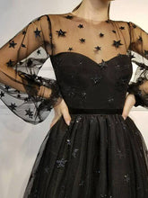 Lace Long Sleeves Starry Night Tulle Little Black Dresses, Prom Party Dresses, OP200