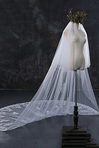 Two-tier Lace Applique Edge Wedding Veil Waterfall OV11