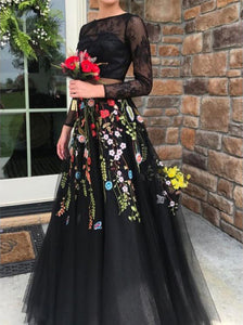Two Piece Black Lace Prom Dress Crew Long Sleeves Floral Party Gown OP568