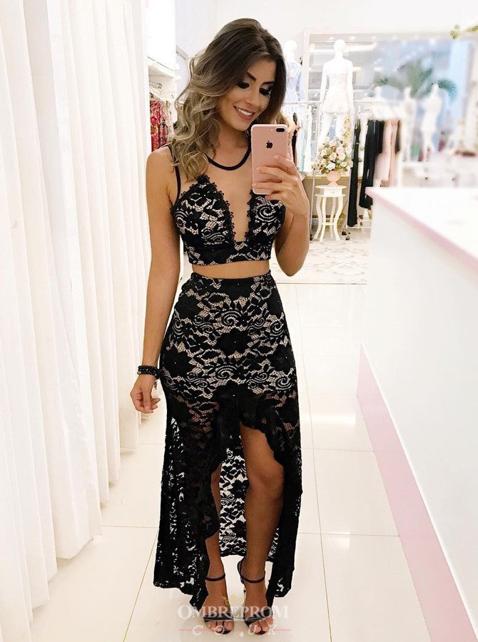 Two Piece Black Lace Prom Dress, High Low Crew Sheath Party Gown OP632