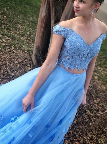 Two Piece Blue Prom Dress Off-The-Shoulder A Line Long Graduation Gown OP441