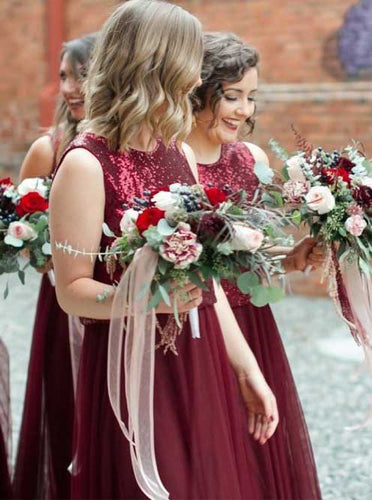 Two Piece Burgundy Bridesmaid Dresses Bateau Tulle with Sequins OB197