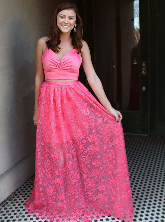 Two Piece Deep V Neck Cross Back Straps Pink Prom Party Dresses OP557