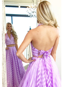 Elegant Two Piece Halter V-neck Striped Long Backless Prom Dress OP621