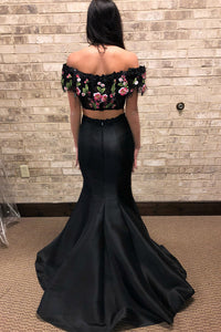 Two Piece Lace Floral Appliques Black Satin Mermaid Long Prom Dress OP589