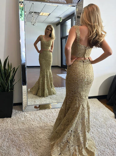 Two Piece Lace Gold Prom Dress V-Neck Mermaid/Trumpet OP630