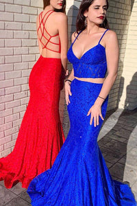 Two Piece Lace Mermaid Long Prom Dress Beaded Graduation Gown OP587