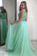 Two Piece Prom Dress Mint Green Beading V-neck Tulle Party Dress OP439