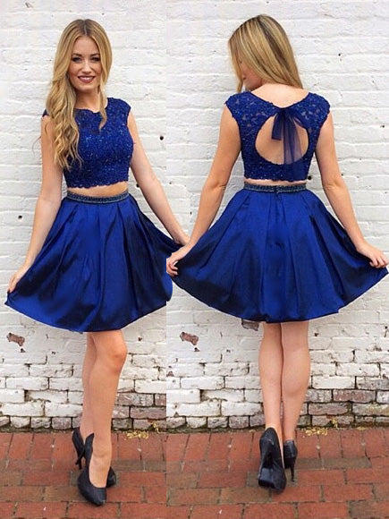 Royal Blue Two Piece Keyhole Short Prom Dress, Party Dress, OP207